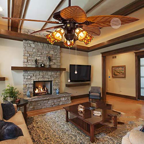Estilo de Tiffany Ventilador de techo Lámpara de madera Hoja de palmera Ventilador Interior Silencio Ventiladores de techo Araña 5 aspas 5 luces, 52 pulgadas,remotecontrol