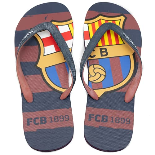 FCBarcelona Chanclas Hombre Verano Playa Piscina - Sandalias Goma Planas Caminar Zapatos colección Futbol Club Barcelona - Barça zapatillas edición limitada - Escudo FCB Talla L 43-44