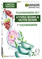 Garnier Cloth Mask Set for All Skin Types, 7 Face Masks for Dry to Normal Skin and Combination Skin,...