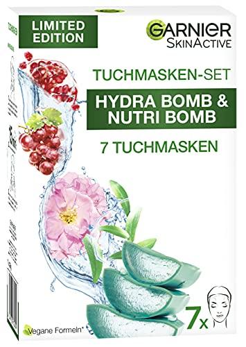 Garnier Tuchmasken Set für jeden Hauttyp, 7 Gesichtsmasken für trockene bis normale Haut und Mischhaut, Vegane Formel mit Hyaluronsäure, Limitierte Edition, Hydra Bomb und Nutri Bomb Maskenset, 7x28 g