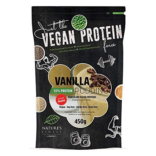 Nature's Finest Budino Proteico 55% Vegano alla Vaniglia edulcorato con Stevia 450 g | Budino ad Alto Contenuto Proteico | Dessert adatto a Vegani e Vegetariani