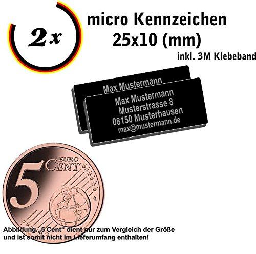 Gravierwerkstatt-Salomon 2X Micro DrohnenKennzeichen 25x10mm Drohnen Plakette mit hochwertiger Lasergravur und Klebestreifen (25x10)