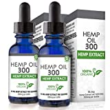 Hemp Oil for Pain, Anxiety & Stress Relief - 600mg (2 Pack) - 100% Organic Hemp Extract Drops - Natural Anti-Inflammatory, Joint Support Helps with Better Sleep & Mood - Grown and Made In USA - 2 btls