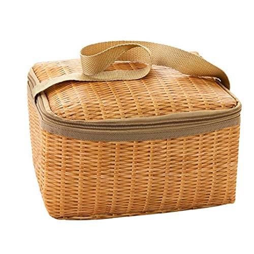 Portátil de mimbre Rattan Basket, al aire libre a prueba de agua bolsa de picnic vajilla con aislamiento térmico más frío contenedor de alimentos de la cesta de picnic para acampar fácil de