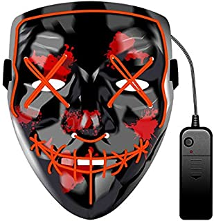 Red LED Glowing Mask Prom Bar Halloween Mask Fortress Night Mask Sewing Mouth Terror Dance Mask