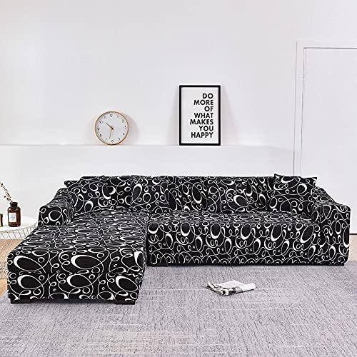 WXQY Funda de sofá de Esquina en Forma de L elástica Todo Incluido sofá a Prueba de Polvo Toalla Funda de sillón sofá de Esquina protección Muebles A14 2 plazas