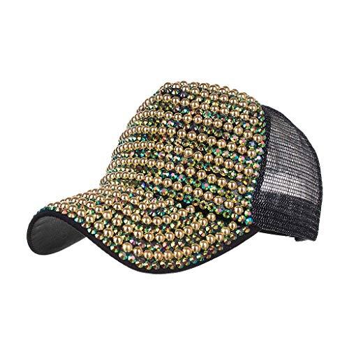 DOLDOA Hut Damen Sommer,Womens Mens Cotton Bestickte Unisex Baseball Caps einstellbar (Grün)