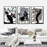 HXLZGFV Arte de Pared nórdico Cartel impresión Banda Guitarra Jazz Blues música Retrato Lienzo Pintura Decorativa Cuadro de Pared para decoración de Sala de estar-40x60cmx3-sin Marco