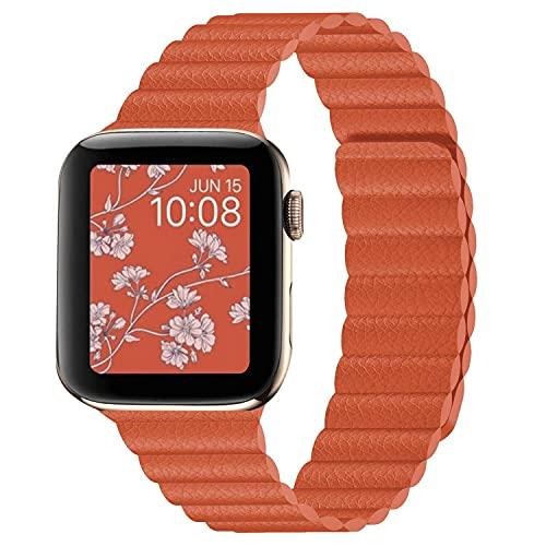 Hspcam Correa de cuero para Apple Watch Band 44mm 40mm iWatch Series 6 SE 5 4 3 2 1 pulseras 42mm 38mm (para 42mm y 44mm, naranja)