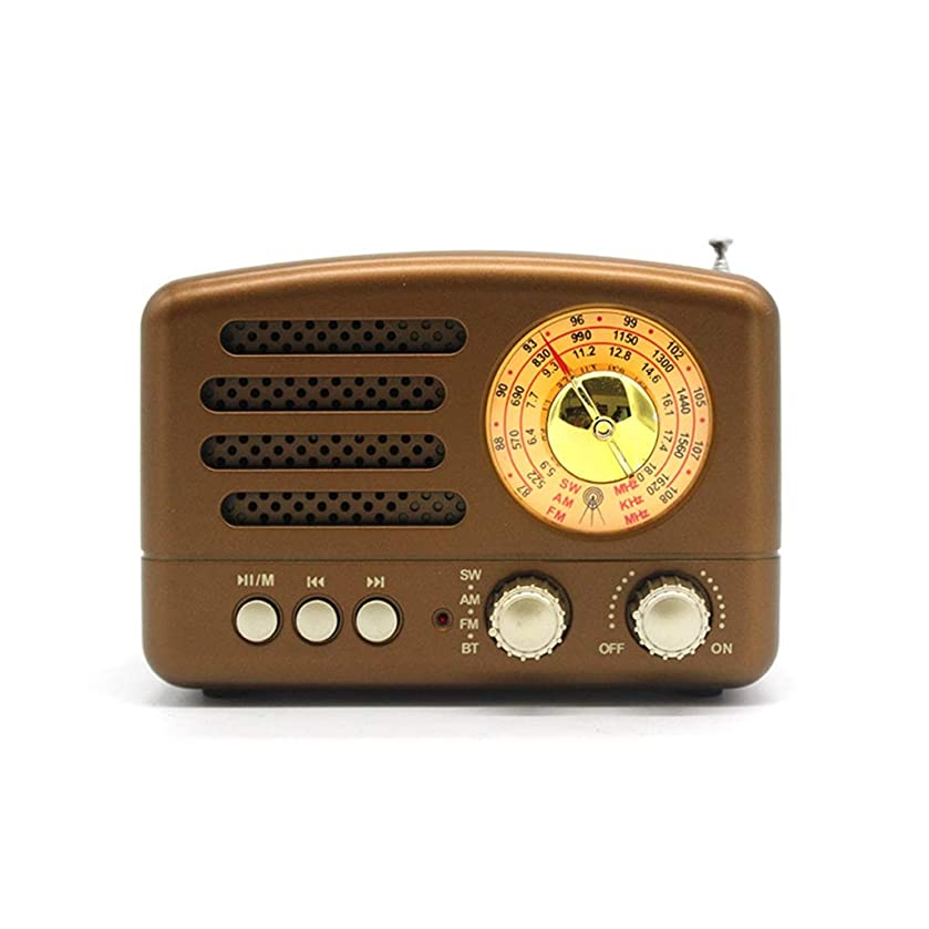 piaoling Portable Radio Retro Portable Small Radio USB Bluetooth Multi-Band Pointer Built-in Speaker Broadcast Easy to Operate (Color : Brown)