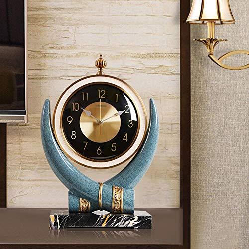Reloj digital Reloj de mesa de resina de lujo ligero Reloj de monte silencioso con batería 14.5 pulgadas Reloj de manto para decoración de escritorio (negro / blanco) Despertador Digital ( Color : B )