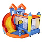 TOBBI Inflatable Bounce House with Slide, Trampoline, Splash Pool, Water Canon & Climb Wall, Inflatable Bouncy House Including Carry Bag, Repairing Kit, Stake (Blower Not Included)
