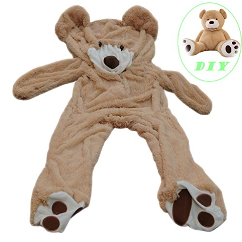 Life Size Huge Plush Teddy Bear Unstuffed Soft Giant Animal Toy (63 inch/ 5.2 feet), DIY Brown Bear for Children/ Girls Wishes, Only Cover, Sealing with the Zipper at Shell's Back