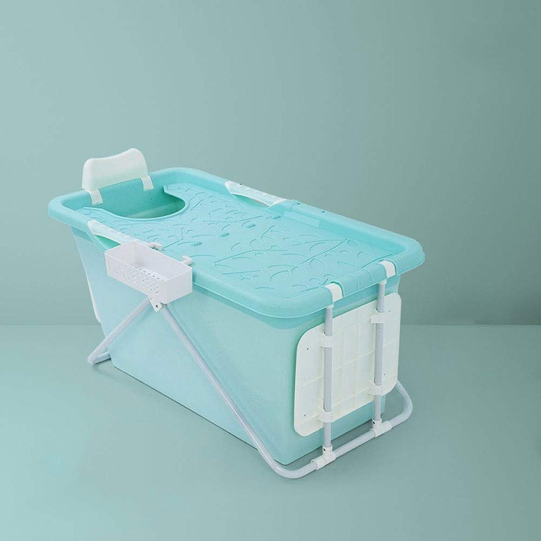 WPCBAA PP lengthened collapsible portable insulation bath adult soaked straight leg bathtub food grade non-toxic soft bath barrel (color   bluee)