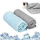 Dog Cooling Blanket (2 Pack) Pet Cooling Pad for Summer Sleeping Cat Cooling Blanket with Breathable Ice Silk Fabric Cool to The Touch Keep Pets Cooler in an Air-Conditioned Room