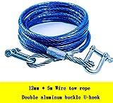 Remolque de cables de nylon Cuerda de remolque de alta resistencia de la cuerda de alambre de acero de remolque cable de remolque correa de remolque con dos ganchos en U (diámetro: 12 mm) correas de r
