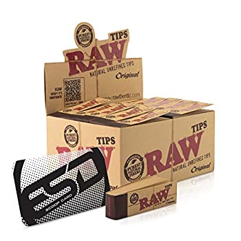 RAW Tips Original Roll Up Tips Full Box   50 Packs   50 RAW Tips per Pack   Naturally Unrefined Tips Made for Re-Use