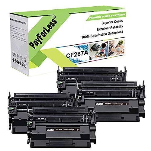 PayForLess Toner Cartridge 87A CF287A 4PK Black Compatible for HP Laserjet Enterprise M506 M506n M506x M506dn MFP M527 Series M501dn M501n Printers (87X CF287X)