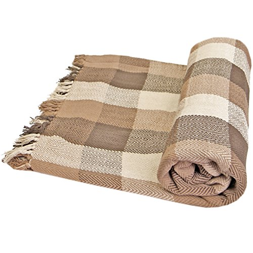 Just Contempo - Manta para Sofa (algodón), diseño a Cuadros, 100% algodón, Beige/marrón, Double 228cm x 254cm (90'x102')