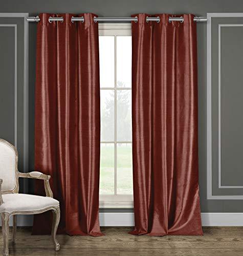"Duck River Textiles Bali Faux Silk Grommet Top Window Curtain 2 Panel Drape, 38""W x 84""L, Orange"