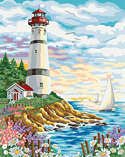 ABEUTY DIY Paint by Numbers for Adults Beginner - Seaside Lighthouse Sailboat 16x20 inches Number Painting Anti Stress Toys