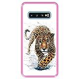 Hapdey silikon Hülle für [ Samsung Galaxy S10 ] Design [ Jaguar - Abbildung ] Rosa Flexibles TPU