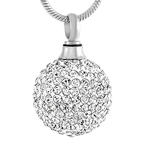 rmdfz Collar de Tarro de cremación Joyas de cremación de Recuerdo de Ceniza Conmemorativa de urna de Bola de Cristal Transparente