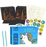 Scratch Art Paper 250 Hojas con 10 Plantillas Dibujos 2 Lápices Azules, Manualidades Rascar Rainbow Mini Bloc de Notas Mágico para Pascua Halloween Navidad Fiesta Cumpleaños Regalo (8.4*8.4cm 250pcs)