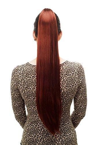 WIG ME UP ® - T113-35 Extension/natte, très longue, lisse pince-papillon, env. 70 cm, rouge