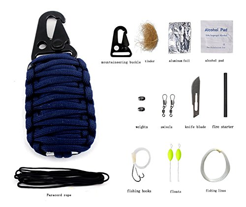ZENDY 12 en 1 / Paracord Corde Multi Fonction kit de Survie en Plein air (7 brins Cordon) (Bleu Marin)