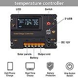 ECO-WORTHY 20A LCD regulador de batería de panel solar de carga controlador inteligente 12 V/24 V hogar