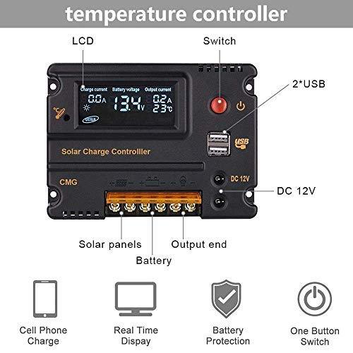 ECO-WORTHY 20 A LCD-Solarpanel Batterieregler Ladung Intelligenter Controller 12 V/24 V Home