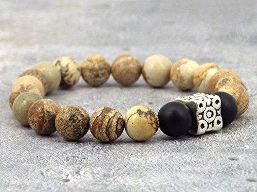 Pulsera modelo azteca para hombre con cuentas de ágata, perla de jaspe y perla tibetana.