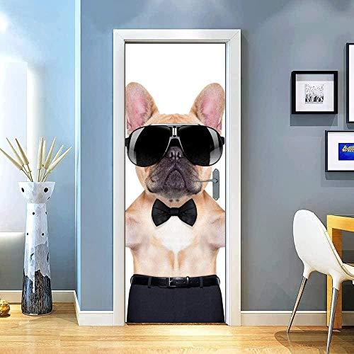 JYXJJKK Vinilos para Puertas Papel Pintado Autoadhesivo Animal Perro Gafas de Sol Creativo 88x200 CM para cocinas baños Decorativos murales para Pared 3D Door Stickers para Puertas