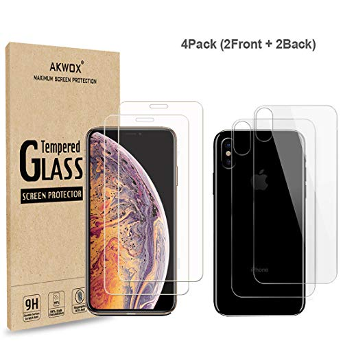 (4-Pack) Compatible with iPhone Xs Max Screen Protector with Back Covers, Akwox 9H Tempered Glass Front Screen Protector and Back Screen Protector for iPhone Xs Max