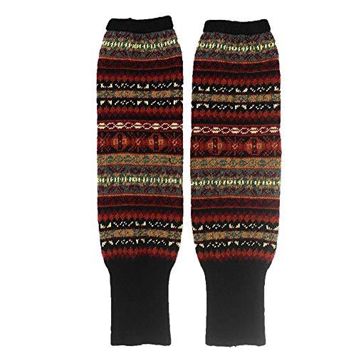 2 Stück dicke Damen-Beinsocken im Bohemian-Stil, gestreift, kniehoch, schwarz, 1 Paar