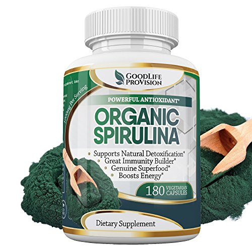 Organic Spirulina – 100% Pure 1000mg Serving (500mg Veggie Capsules) Powder Supplement, Supports Natural Detoxification, Benefits Health on a Cellular Level, Best with Chlorella, 3 Month Supply