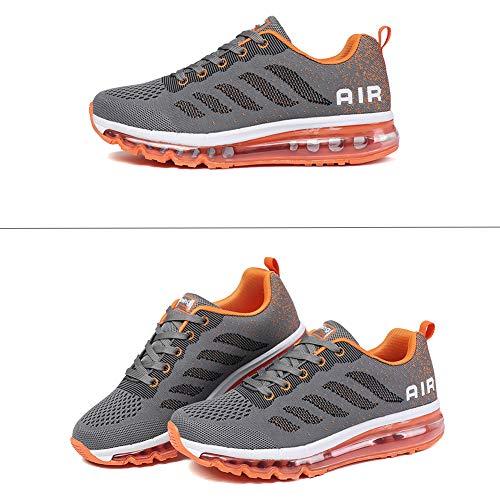 Zapatillas Hombre Deportivas de Mujer Zapatos Running Fitness Gym Outdoor Sneaker Casual Mesh Transpirable Comodas grayorange 44