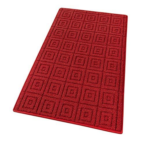 tappeto bagno emmevi emmevi Tappeto Cucina 3D Antiscivolo Tinta Unita Lavabile Morbido Assorbente MOD.Evita 57X190 Bordeaux