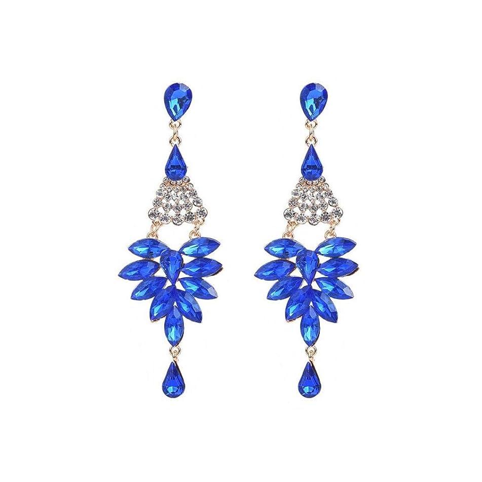 ICHQ Elegant Womens Girls Water Drop Gemstone Long Pendant Allergen-free Earrings Fashion Crystal Diamond Stud Earrings Gift (Navy Blue)
