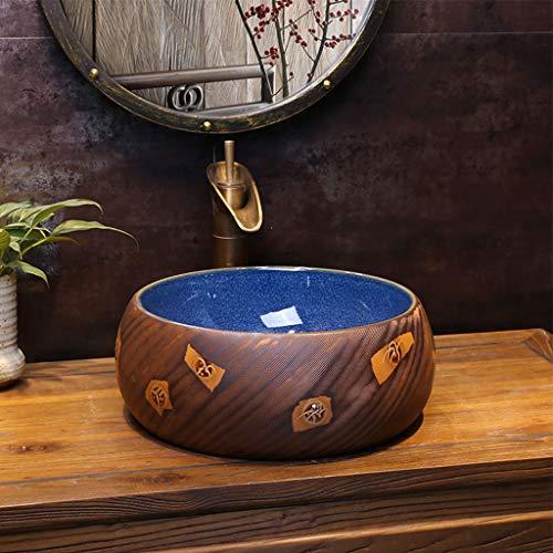 Huishoudelijke kleine keramische wastafels ronde retro slijtvaste wastafel diep vullen met overloop sleuf, 40CM*15CM 1212
