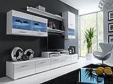 Maxima House Logo II - TV Möbel Set - Anbauwand - Fernsehschrank - Wohnwand - Schrankwand - (Weiß Hochglanz)