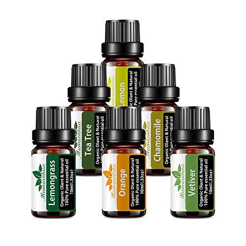 Mumianhua 6x10ml Bio Aromatherapie öle set reinen Pflanzen essentielle Öle ätherisches öl set Für Diffuser Massage(Teebaum, Zitronengras, Orange, Vetiver, Kamille, Zitrone)