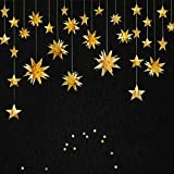 Gold Decorations Kit, Star Paper, Parti Stars Decor 3D Metallic Bunting Banner, Holiday équipements. Anniversaire, Mariage, Baby Douche, de Decorations for Faible, Filles Room by PinkBlume (4)