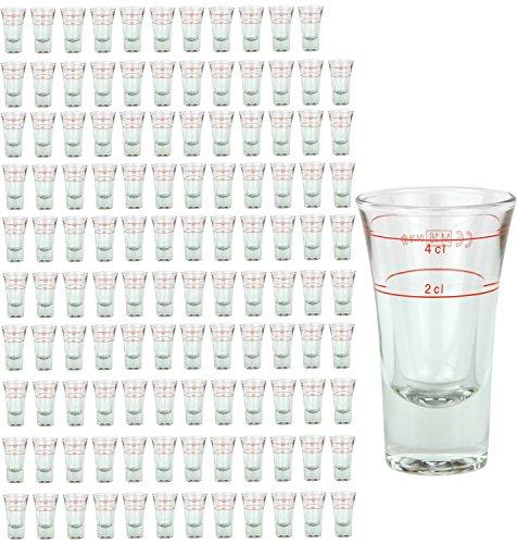 120er Set Schnapsglas DUBLINO mit Eichstrich, 2 cl + 4 cl in Einem, doppelt-geeichtes Spirituosenglas mit Füllstrich, Double Shot Glas, Stamper, hochglänzendes Markenglas, glasklar