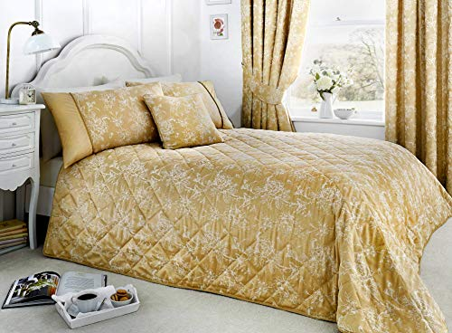 Serene - Jasmine Tagesdecke, gesteppt, leicht zu pflegen, 240 x 220 cm, champagnerfarben / goldfarben