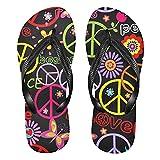 Linomo Sandalias de playa de verano para mujer con símbolo de amor de paz y flores coloridas, color, talla 42/46 EU
