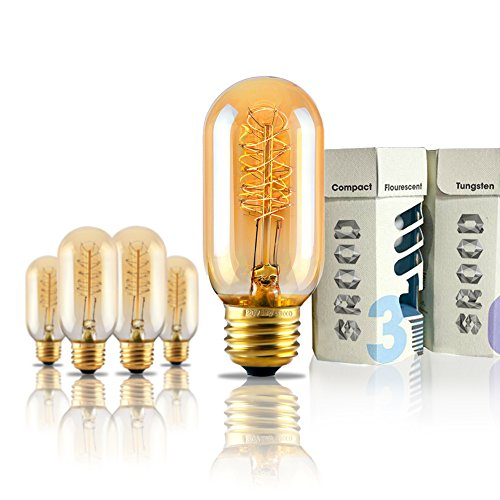 SROOD 60 Watt Vintage Antique Edison Style Spiral Filament Repoduction Incandescent Light Bulb-Dimmable, 4 Pack