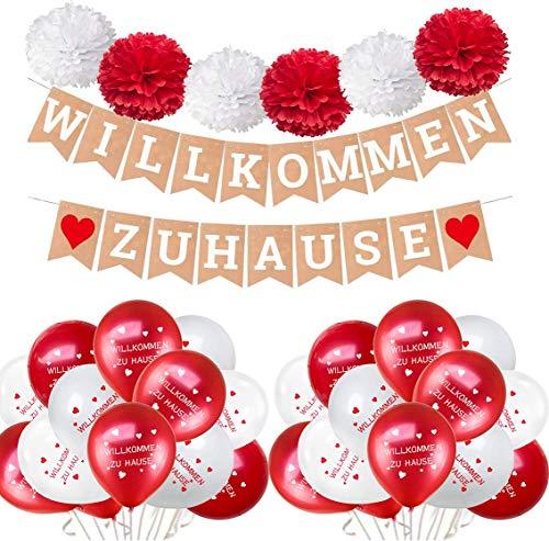 Guirnalda de bienvenida para el hogar, banderines con corazones, 30 globos y 6 pompones de papel de seda, color blanco y rojo para decoración de fiestas familiares o bodas
