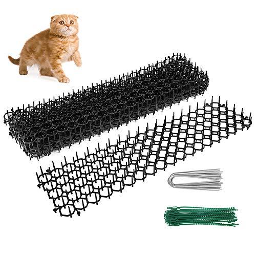 harupink 6 alfombrillas repelentes para gatos, 49 x 14 x 2,7 cm, con 12 uñas en forma de U + 30 corbata antizorro, seguro y no tóxico para la protección del jardín